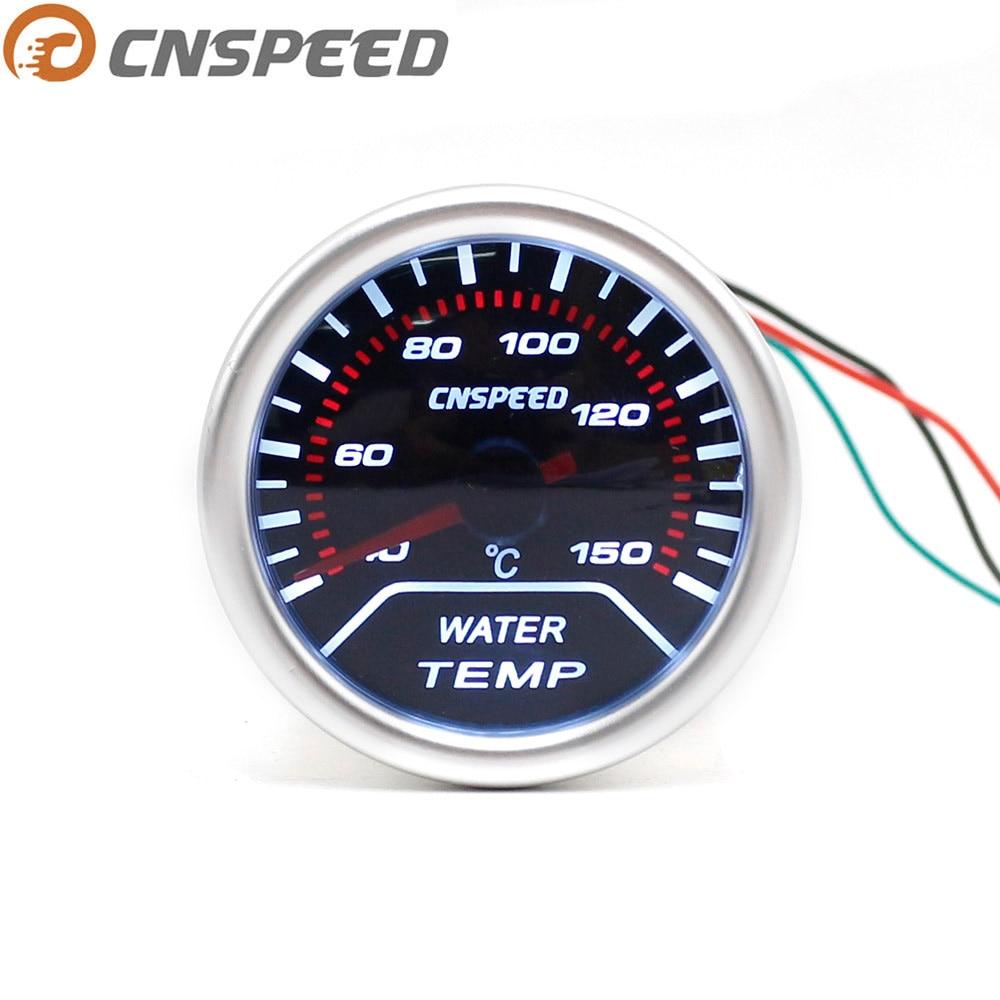 "Medidor de temperatura del agua del coche CNSPEED 2 ""52mm 12V 40-150C con Sensor NPT1/8 agua del coche medidor de temperatura lente de humo pantalla LED blanca"