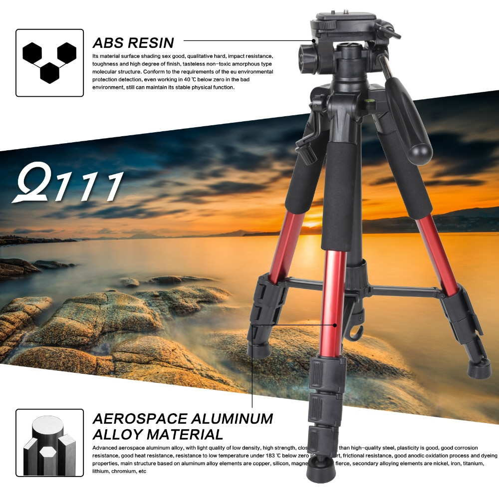 ZOMEI Q111 Professional Portable Travel Aluminum Camera Tripod&Pan Head for SLR DSLR Digital Camera Three color enlarge