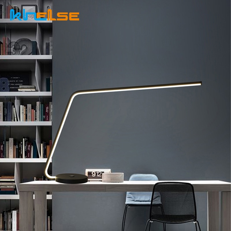 Brazo Largo 12W LED moderno escritorio lámpara táctil interruptor Dimmer mesa de oficina de negocios luz ojo cuidado estudio, escritorio luces al lado de la lámpara