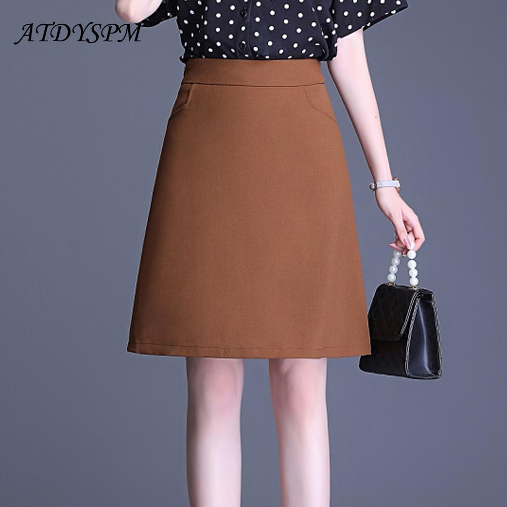 Nuevas faldas para mujer de talla grande faldas holgadas de corte a faldas elegantes de oficina OL faldas casuales femeninas falda a media pierna de cintura alta con bolsillo