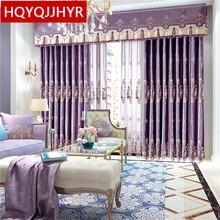 Europa königliche edle Lila hochwertige Samt Blackout bestickt vorhänge für Wohnzimmer luxus villa vorhang für Schlafzimmer