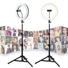 Tycipy 26CM LED anneau lumière 24W Photo Studio lumière photographie Dimmable vidéo pour iPhone avec trépied Selfie bâton et support pour téléphone