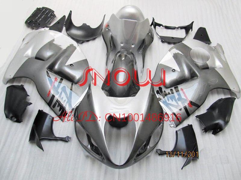 Gris/Blanc pour Hayabusa GSXR1300 96-07 GSX R1300 GSXR 1300 GSX-R1300 96 97 98 99 00 01 02 03 04 05 06 07 Carénage