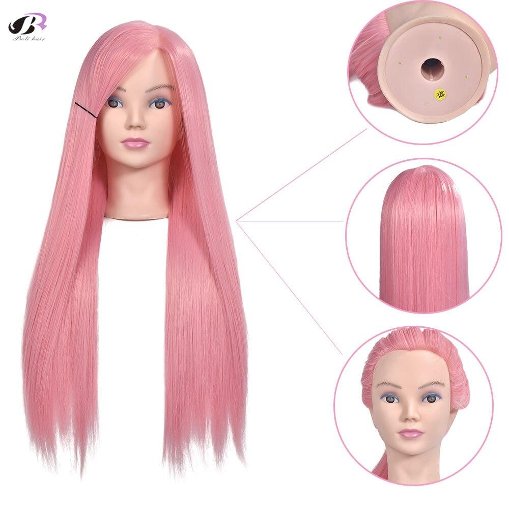 "28-29"" 70CM High Temperature Fiber Pink Hair Training Head for Hairstyles Long Thick Hair Braiding Dummy Mannequin Heads"