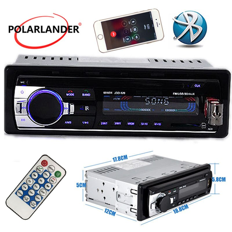 Neue auto radio bluetooth auto stereo 12V mp3 player auto audio Bluetooth radio SD Karte USB Port AUX IN TELEFON 1 Din in dash 520