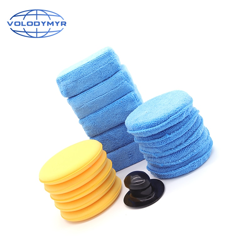 Waxing Kit 16pcs with Wax Applicator Microfiber Pad Blank Holder Sponge Block for Car Care Auto Cleaning Washing Polishing enlarge