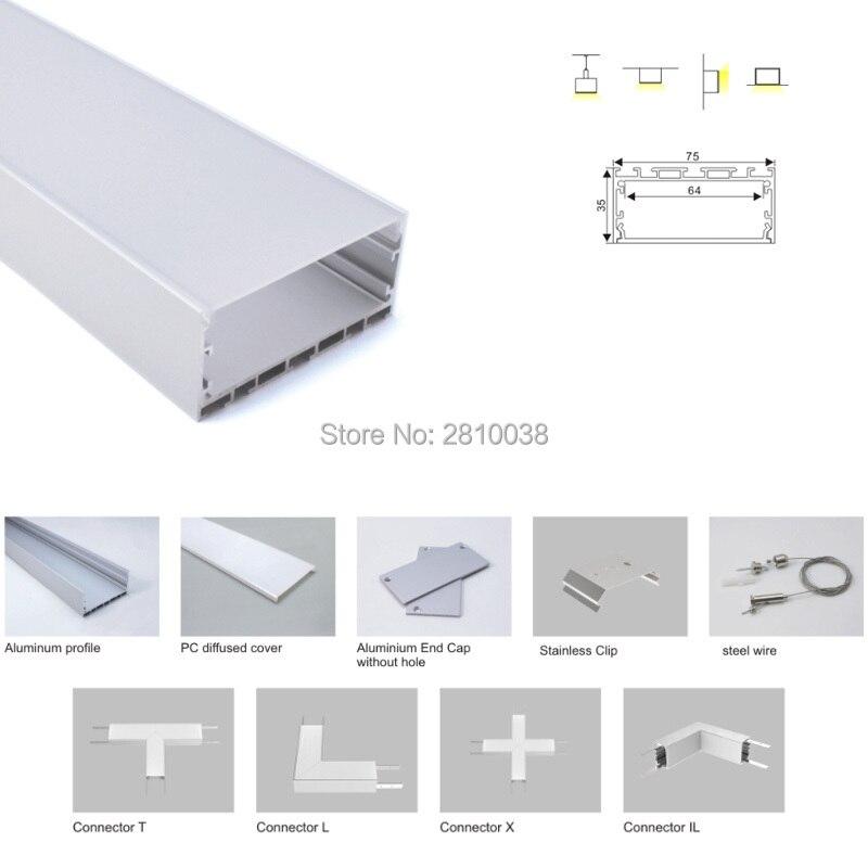 100X 1M Sets/Lot 6000 series aluminum profile led strip light and U-shaped aluminum led channel for suspension or pendant lamp