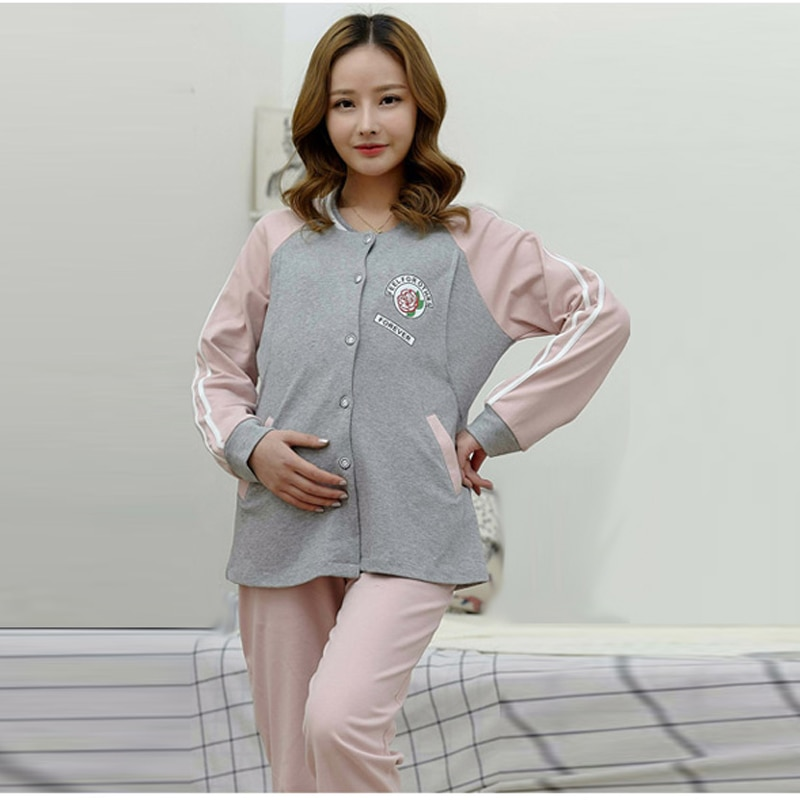 Cotton Plus Size Maternity Nursing Pajamas Set Long Sleeve Breastfeeding Top Shirt+Pregnancy Pants Uniform for Pregnant Women