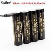 Sofirn Micro USB 18650 batterie 3400mAh Li-ion batterie Rechargeable 3.7V indicateur LED USB dc-charge cellule intelligente