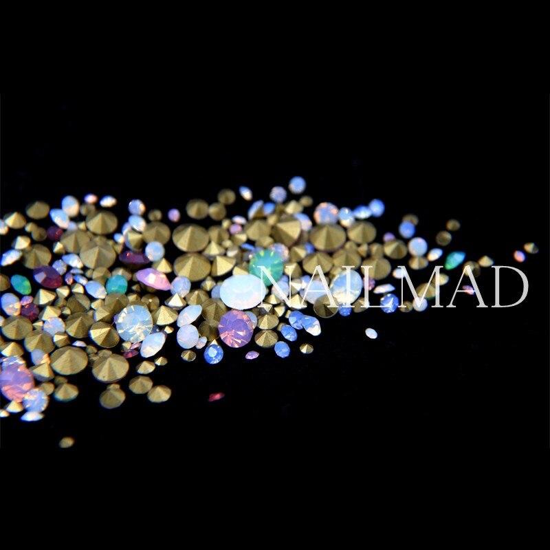 Mixed Size Crystal Colorful Opal Nail Art Rhinestone Decorations Colorful AB Rhinestone Hotfix Gems Strass Nail Art