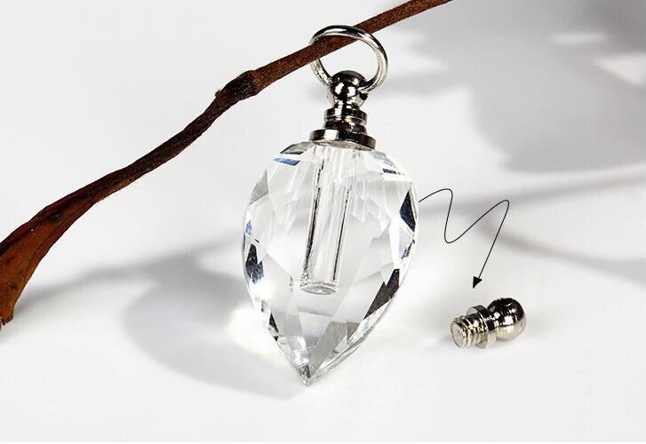 1 Uds colgante de corazón de cristal con tapa de rosca, nombre del vial en botella de arroz, frascos de Perfume de aceite con espacio de almacenamiento, botella privada