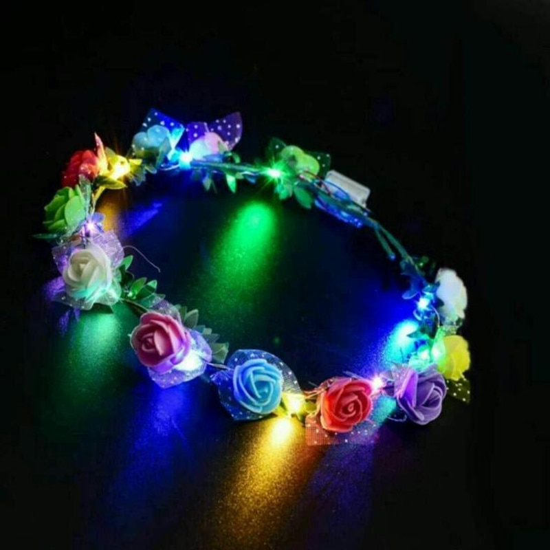 Mujeres niñas boda corona de fiesta flor diadema LED corona para el pelo con luz diadema guirnaldas guirnalda que brilla Festival de Carnaval
