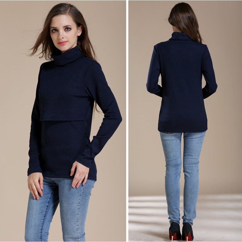 Emotion Moms Winter Turtleneck Warm Long Sleeve Cotton Maternity T-shirt Lactation Tops Breastfeeding clothes for Pregnant Women enlarge
