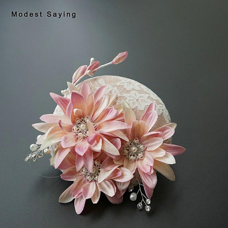 Sombreros de novia de Encaje Vintage, tocado de novia con perlas, tocado...