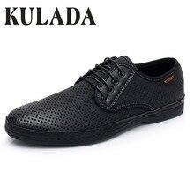 KULADA новые Для мужчин сандалии летние прогулки обувь кожаная обувь для вождения Повседневная Удобная хлопковая куртка обувь дышащая Для мужчин повседневная обувь