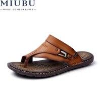 MIUBU большой Размеры 45 летние мужские пляжные сандалии; Тапочки для Разделение кожаные сандалии, обувь для отдыха, прочная нескользящая обув...