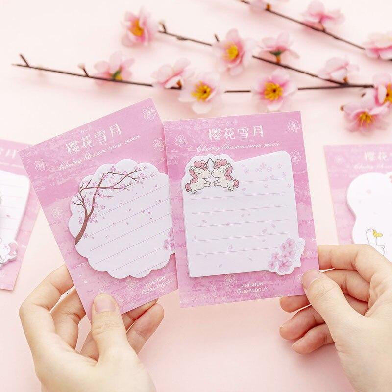 Mädchen Kirschblüte Notizen Pads Entsendung Korea Kreative Student Mitteilung Aufkleber Hinweis Memo Pads