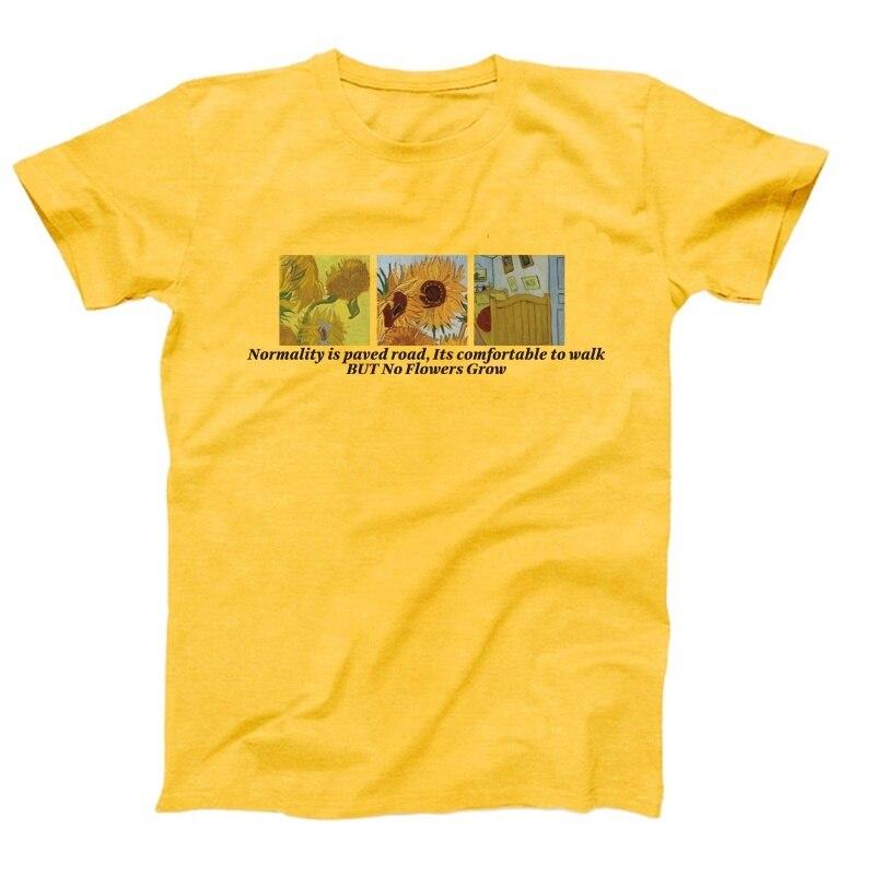Kuakuayu hjn vincent van gogh a noite estrelada camiseta normalidade é pavimentada estrada, seu confortável de andar, mas sem flores crescem topo