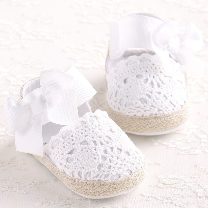 WONBO Baby Girl Newborn Shoes Spring Summer Sweet Very Light Mary Jane Big Bow Knitted Dance Balleri