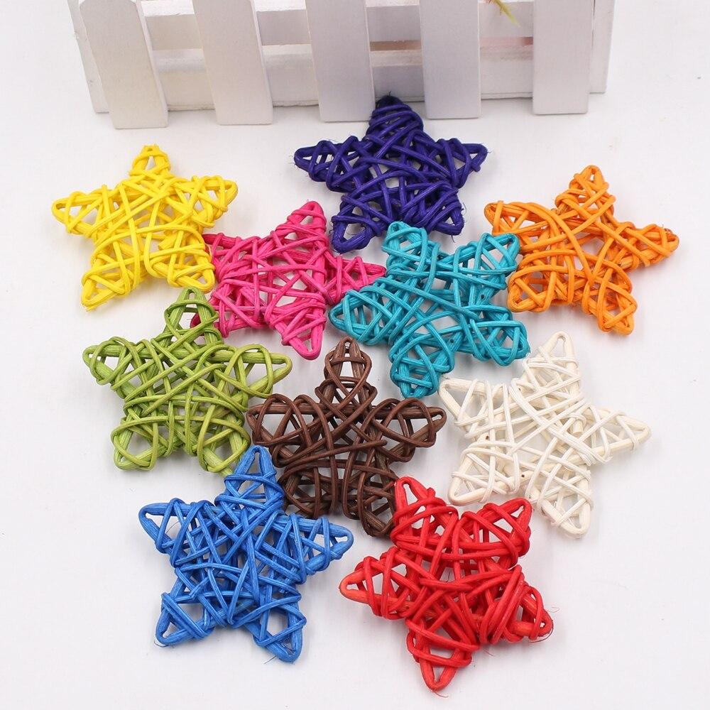 5 unids/lote 6cm Bola de paja Artificial para fiesta de cumpleaños decoración de boda estrellas de ratán decoración de Navidad suministros de ornamento del hogar