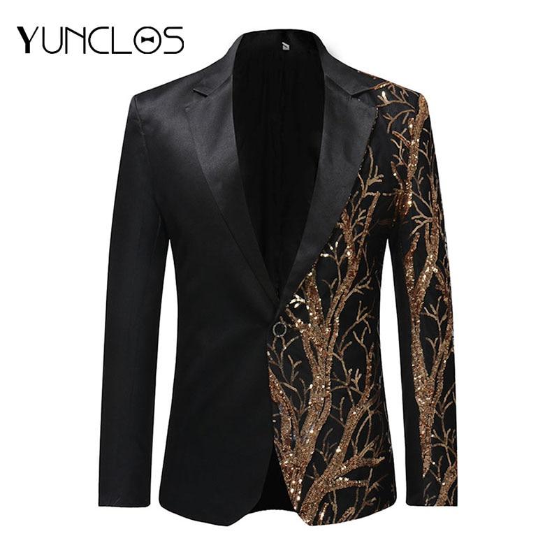 YUNCLOS европейский размер мужской блейзер с блестками однобортный пиджак мужские вечерние пальто в стиле хип-хоп модный Театральный Костюм Б...