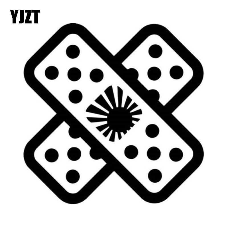 Yjzt 15*15cm band aid jdm moda carro-estilo decalque da janela do carro adesivo preto/prata vinil S8-1452