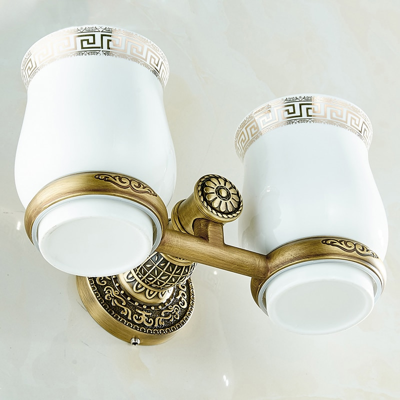 Новый Античный двойной держатель стакана-тамблера для ванной комнаты, держатель для зубной щетки, аксессуары для ванной комнаты, сантехника, мебель для ванной комнаты, SL-7808