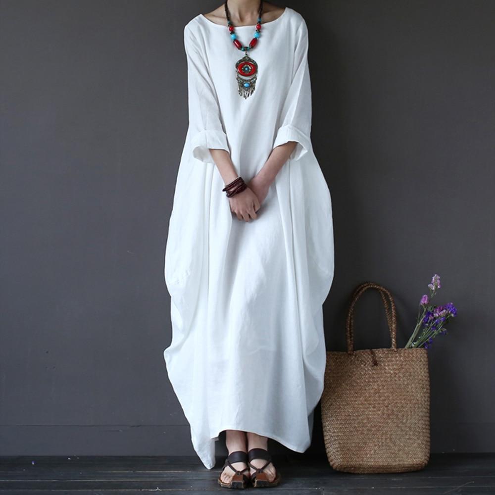 Хлопковое льняное белое Макси платье для женщин весна лето свободного размера плюс большой подол Бохо халат Длинные платья рукав три четверти кафтан 5XL