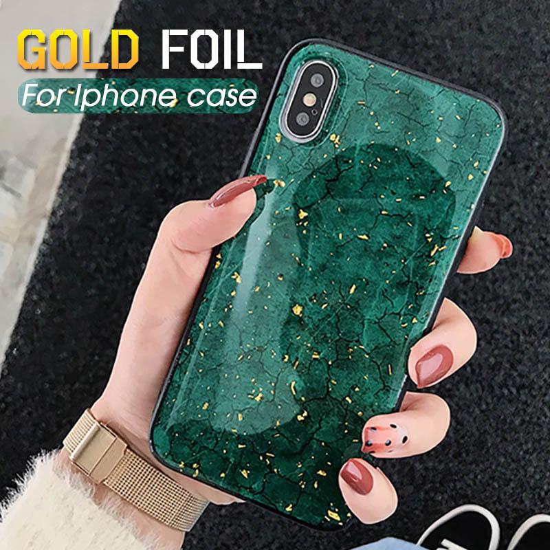 Casos de telefone de luxo da folha de ouro para o iphone x xr xs max caso capa traseira para apple iphone 6s 7 8 10 8plus caso glitter funda