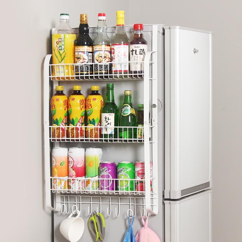 Flat iron rack side wall of large capacity refrigerator kitchen shelf storage rack