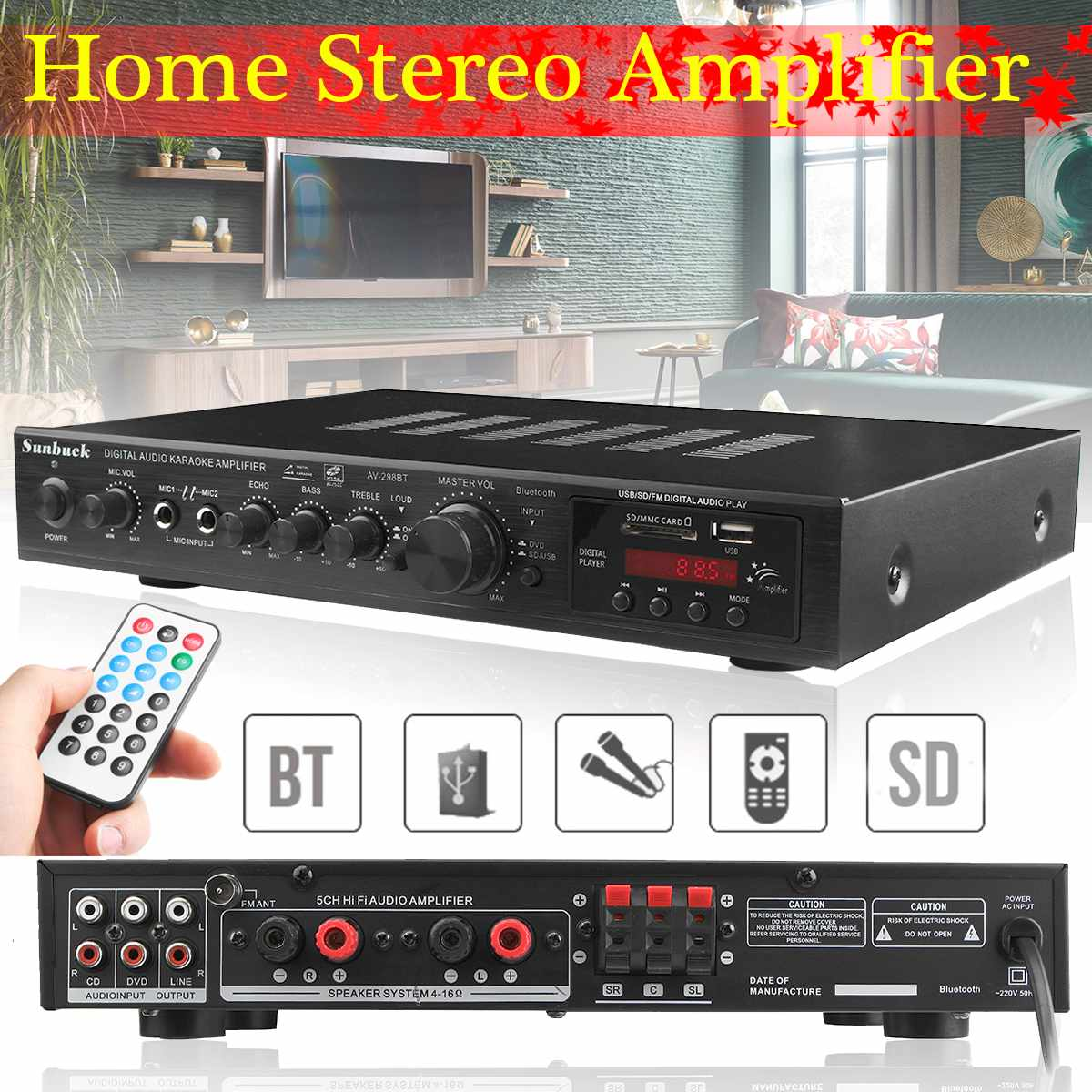5 canal bluetooth amplificador estéreo de alta fidelidad de Audio Digital LED...