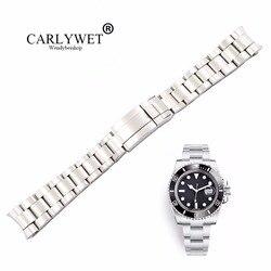 Ремешок для часов CARLYWET 20, 21 мм, серебристый, матовый, из нержавеющей стали 316L, браслет для часов GMT