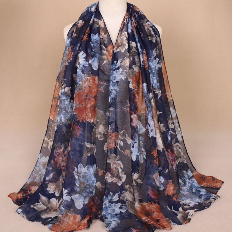 Moda feminina de Tinta Paingting Floral Viscose Xale Cachecol Outono Inverno Imprimir Voile Pashmina Envoltório Roubou Hijab Muçulmano Tampas 180*85 cm