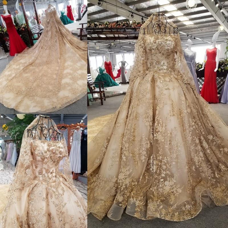فستان سهرة من الدانتيل ، ثوب الكرة ، صورة حقيقية ، أكمام قصيرة ، منفوش ، خرز كريستالي ذهبي ، فستان زفاف الملكة ، BT16 ، 100%