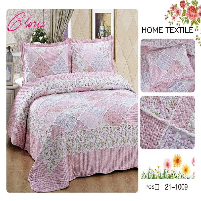 """Colcha acolchada de alta calidad """"CLORIS"""" Europa 230*250 con fundas de almohada 50*70 en la cama cálida manta de algodón con fundas de almohada"""
