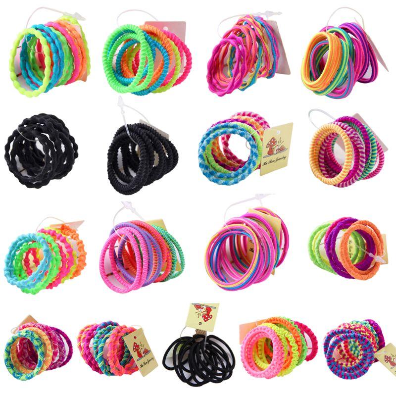 ¡Se vende a pérdida! 10 Uds. Banda elástica de goma para niñas, cuerda de pelo colorida fluorescente, espiral ondulada, diseño Lumpy Hig