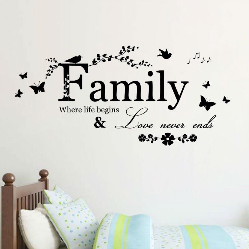 Calcomanía de vinilo para pared Con cita de amor familiar, pegatinas de pared, arte, pegatinas de pared de palabras, decoración del hogar, decoración de boda, sala de estar 801
