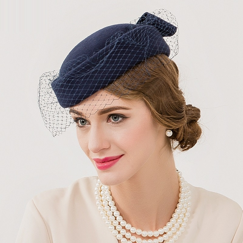 New Arrival Vintage Wedding Cap England Women Wool Beret Hat Dotted Veil Mesh Fedora Hat Ladies Church Fedora Caps B-7547