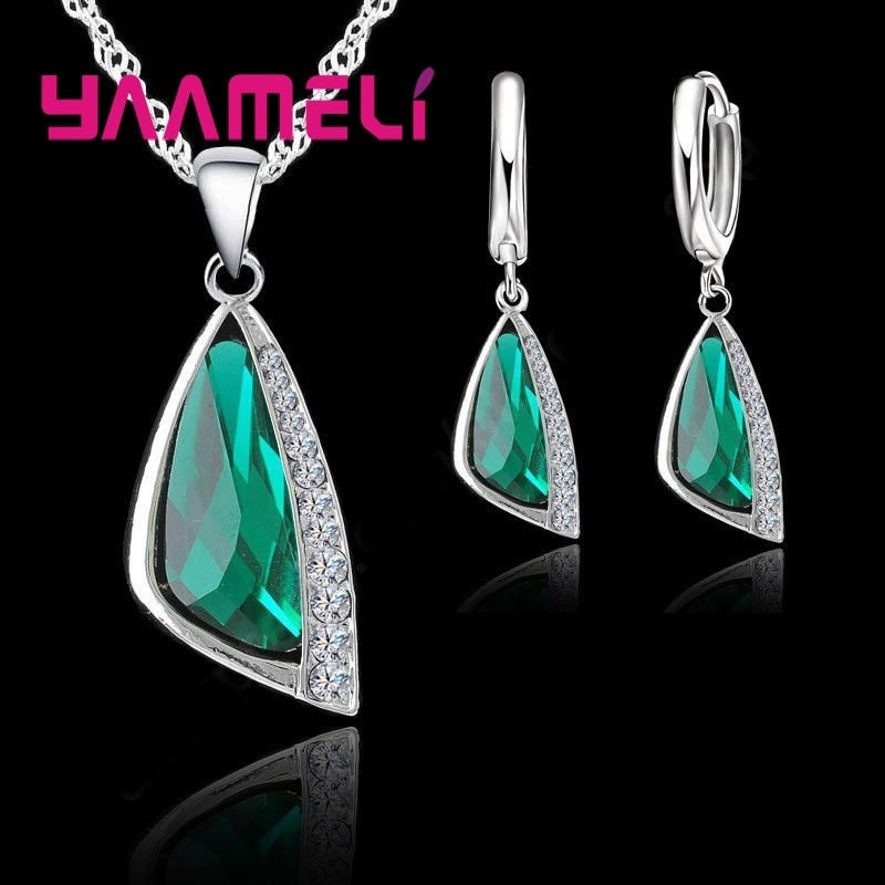 925 conjuntos de jóias de prata esterlina geométrica austríaco cristal pingente colar hoop brinco para o casamento feminino engagment