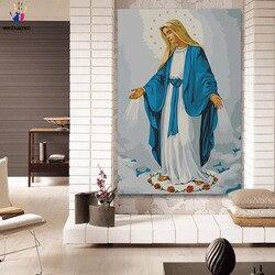 Diy colorings fotos por números com cores virgem maria jesus mãe imagem desenho pintura por números emoldurado casa