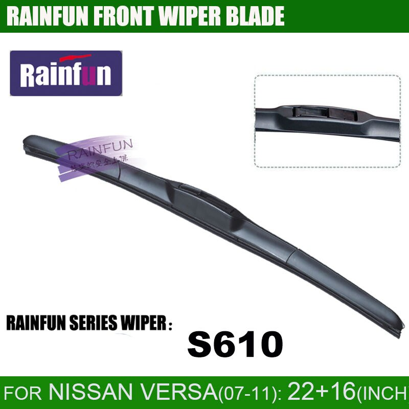 Rainfun 22 + 16 polegada dedicado lâmina de limpador de carro para 2007-2011 nissan versa sedan & hatch/nissan latio (c11)/almera classic