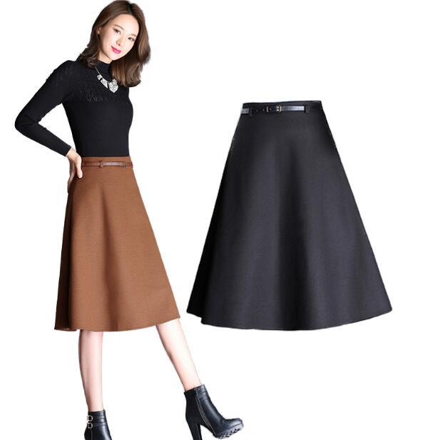 Новинка 2018, стильная Женская осенне-зимняя шерстяная юбка, женская модная длинная юбка с высокой талией, большие размеры, трапециевидная юб...