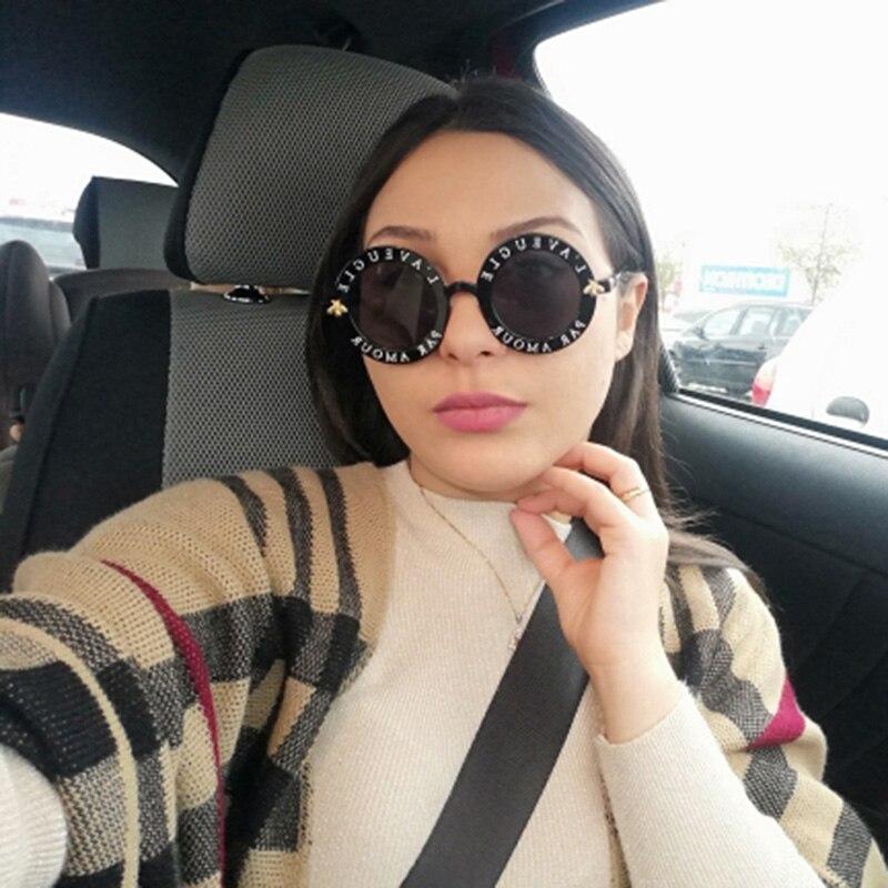 Retro Round Sunglasses Women 2020 Luxury Brand Designer Bee Metal Frame Circle Sun Glasses Fashion F