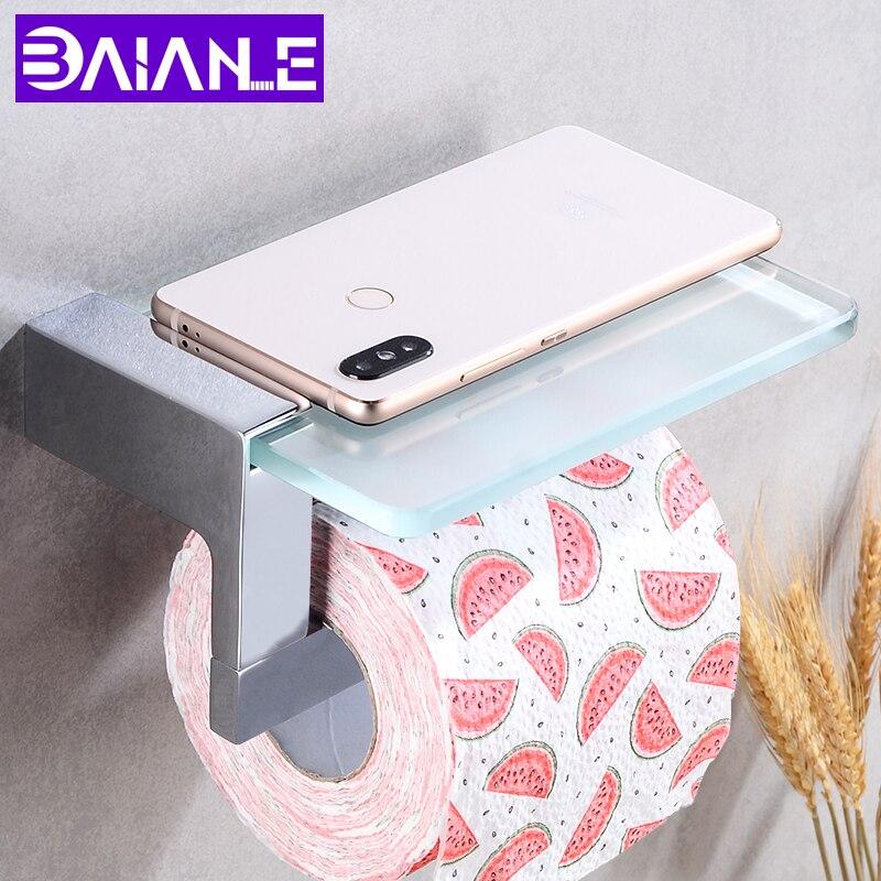 Titular de papel higiénico con estante de vidrio latón WC tejido Portarrollos de papel de baño decorativo soporte para papel de cocina Rack montado en la pared