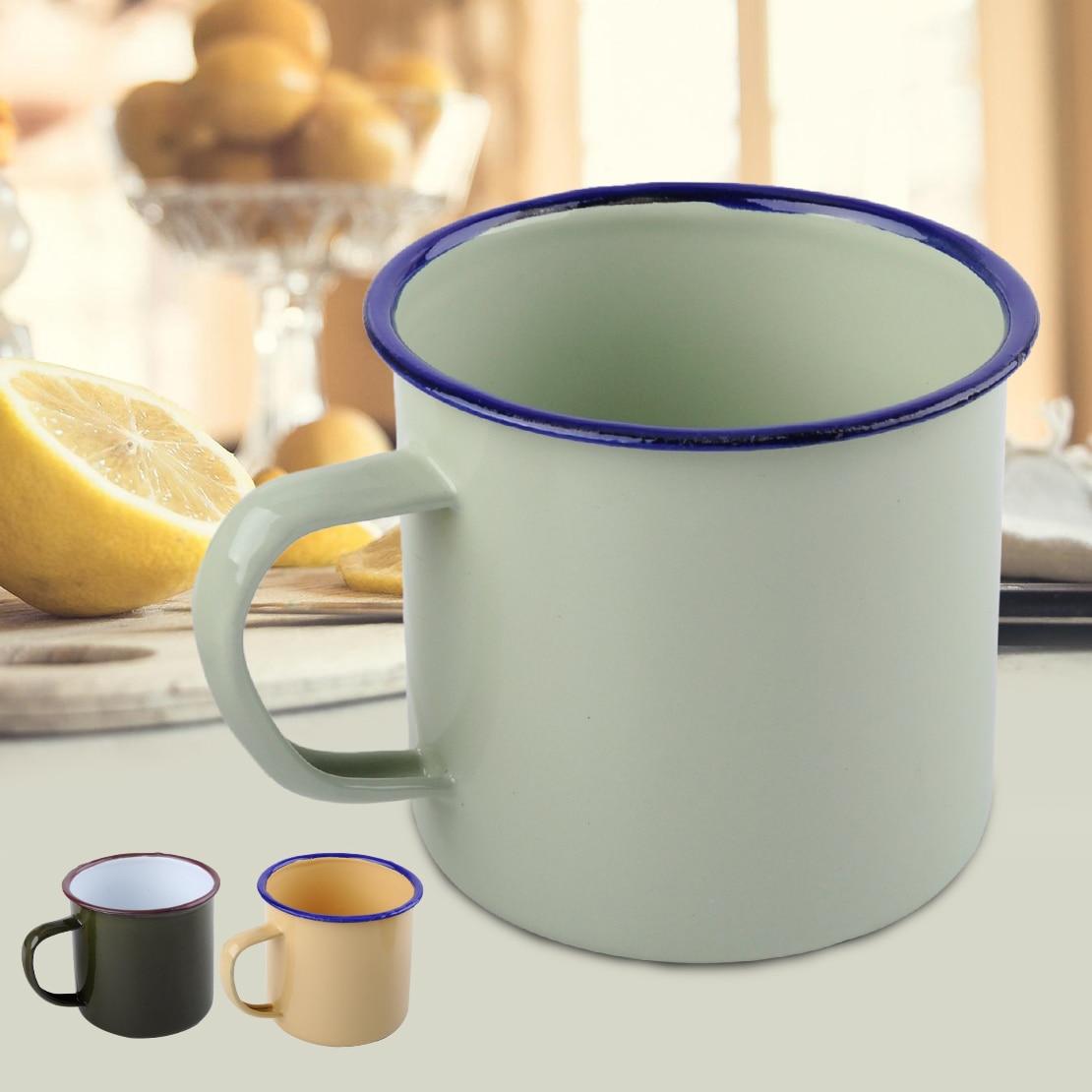 Taza de esmalte hecha a mano Estilo Vintage para beber café, oso, té, Camping, senderismo, regalo, 8cm