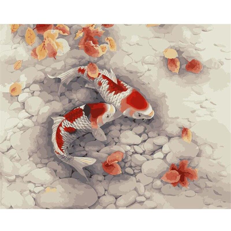 Novedoso pez dorado carpa Diy pintura al óleo por números Kits pared arte imagen decoración del hogar pintura acrílica sobre lienzo para arte