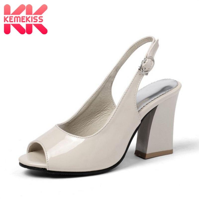 KemeKiss sandalias de mujer ocio diario Peep Toe zapatos de vacaciones de verano Zapatos de tacón grueso dulce talla 32- 45