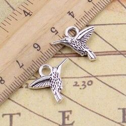10 pçs/pçs/lote encantos hummingbird hummer bird 19x15mm tibetano pingentes antigo jóias fazendo diy artesanal artesanato para colar