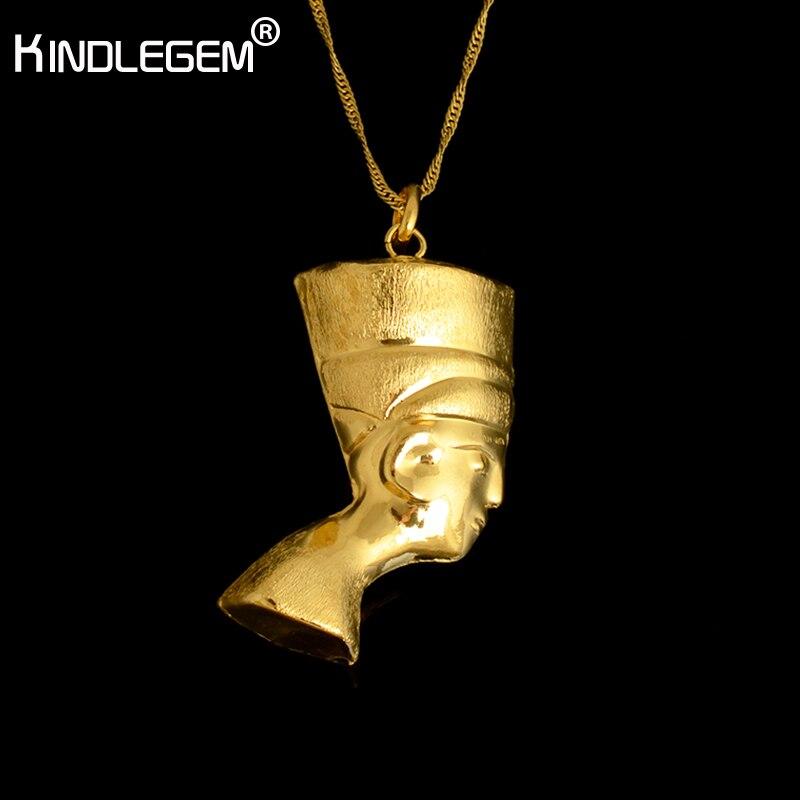Collar de retrato Kindlegem 750 Color oro puro Faraón cabeza colgante para Mujeres Hombres joyería Italia joyería egipcia de alta calidad