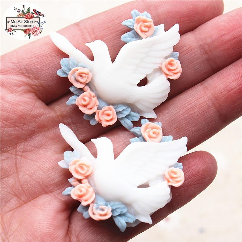 10 Uds paloma pájaro de la paz de resina con flor cabujón joyas planas haciendo Scrapbooking Decoden DIY accesorios 33x31mm